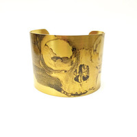 Skull Bracelet, Anatomy Jewellery, Brass Cuff Bracelet, Illustration Print, Anatomy Print, Fashion Jewelry