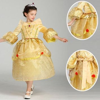 ICIKH6B High quality Princess Sleeping Beauty cosplay Costume For Kids Children girl  Clothing Girl Aurora Fancy yellow Dress