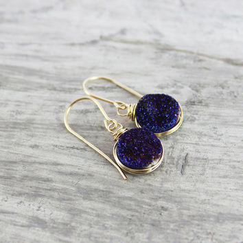 Dark Blue Druzy Earrings, Gold Fill Earrings, Druzy Gemstone Earrings, Royal Blue Earrings, Wire Wrap Earrings, Small Dangle Earrings