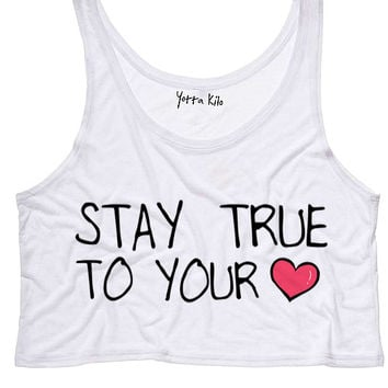 Stay True To Your Heart Crop Tank Top