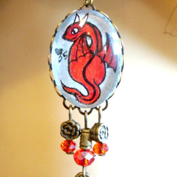 Red Dragon Hand Painted Art Cameo Bronze Crystal Earrings Steampunk Goth Fantasy Mythical Tattoo Art Style Limited Edition