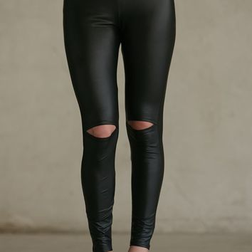 Gypsy Warrior Slit Knee Leggings - Womens Pants - Black