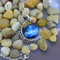 Blue Galaxy Moon Necklace