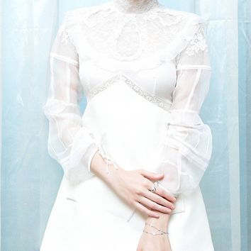White High Neck Lace Panel Sheer Sleeve A-line Mini Dress