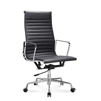 Ribbed Low and High Back Executive Office Chair Made with Upholstered, Swivel and Polished Aluminium Frame - High-Back Black