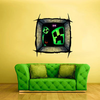 Full Color Wall Decal Vinyl Sticker Decor Art Bedroom Design Mural Like Paintings Minecraft Creeper Crack Hole Fun Video Game (col522)