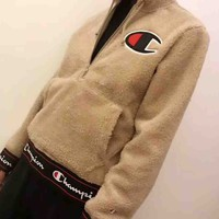 Champion 2018 New Teddy Velvet Thickened Hooded Sweatshirt F-MG-FSSH Khaki
