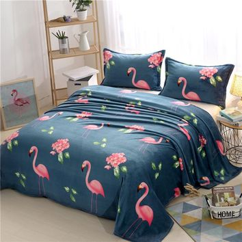 New Bedding Flamingo Floral Blankets for Bed Soft Fleece Blanket Throw Sofa/Bed/Plane Winter Plaid Sheet Bedspread Pillowcase