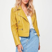 Missguided - Yellow Biker Quilted Hem Jacket