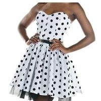 Black & White Polka Dot Mini Party Dress | Style Icon`s Closet