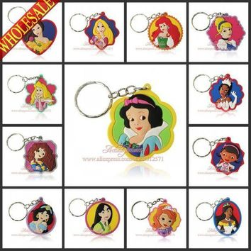 IKCKU62 Girls Love 100Pcs/Lot Lovely Princess Doc Mc Stuffins Key Chains Action figure Keyrings travel accessories Kids Toy Key Holder