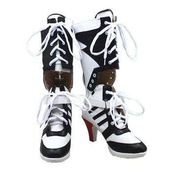 Harley Quinn Cosplay Boots Shoes Joker Cosplay High Boots Adult Women High Heel Halloween Party Csoplay Accessories Custom Made