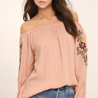 Piece of Me Blush Pink Embroidered Off-the-Shoulder Top
