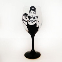 Audrey Hepburn Wine Glass - Rhinestones - Breakfast at Tiffanys  - 20 oz