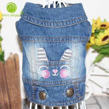 Spring Autumn Pet Clothes Denim Dog Jacket Personalized Vest for Small Medium Large Dogs Chihuahua XS-XXL All Season