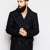 ASOS Wool Peacoat In Navy at asos.com