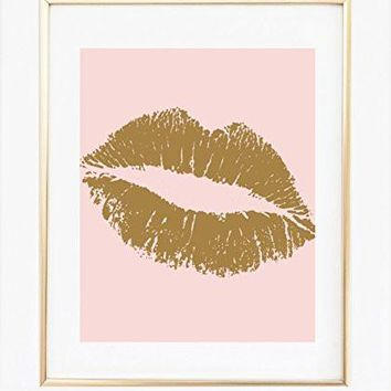 UNFRAMED Blush Pink and Gold Wall Art 8x10, Print, Gold Lips, Kiss Lips, Room Decor
