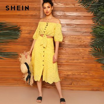 b224a368c5 SHEIN Boho Yellow Off Shoulder Embroidered Eyelet Knot Crop Top
