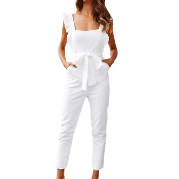 Jaycosin clothes Women Linen Bodysuit  Shirred Frill Sleeves Pockets Jumpsuit Ladies Belted Summer Holiday