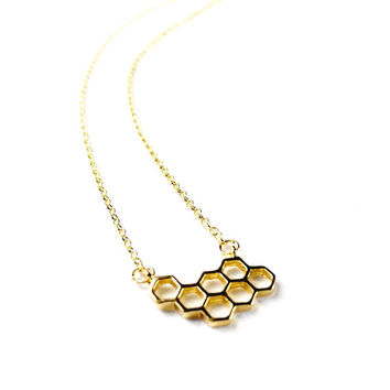 Gold Hive Necklace - Dainty Necklace, Charm Necklace, Charm Jewellery, Charm Jewelry, Beehive, Hive Necklace