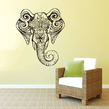 Wall Decal Vinyl Sticker Decals Art Home Decor Mural Indian Elephant Tribal Pattern Om Sign Ganesh Buddha Lotus Yoga Art Bedroom Dorm AN37