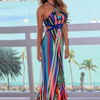 Green and Blue Printed Maxi Dress with Cut Outs