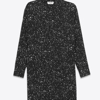 Saint Laurent Oversized Shirt Dress In Black And Ivory Paint Splatter Printed Viscose Twill - ysl.com