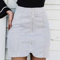 Gray Faux Suede High Waist Circle Zip Front Mini Skirt