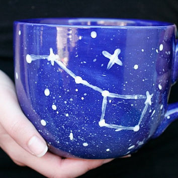 28oz Big Dipper Mug - Constellation Night Sky & Stars - Cobalt Blue and White - Coffee Tea Soup Spring Gift - Hand Painted -  Made To order