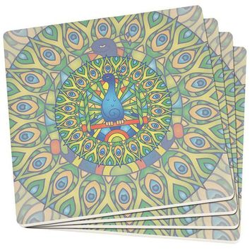 DCCKU3R Mandala Trippy Stained Glass Peacock Set of 4 Square SandsTone Art Coasters
