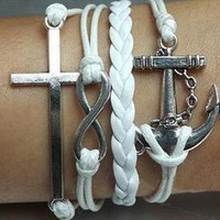 Beautiful Anchor infinity crucifix bracelet