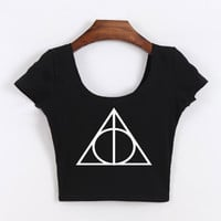 Women Clothing  Deathly Hallows Symbol Cropped Tops tshirt Short Sleeve crop top for women HARRY POTTER Cotton Shirt