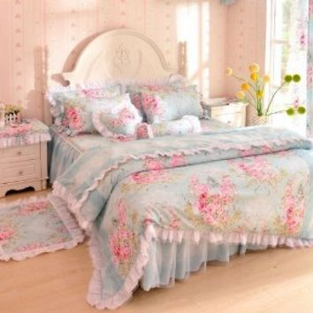 FADFAY Floral Bedding Set,Flower Print Bed Set,Lace Ruffle Duvet Cover Set,Rustic Bedding,Twin Queen King,4Pcs (TWIN)
