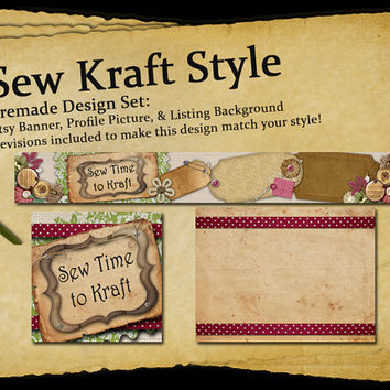 Sew Kraft Style | Etsy Shop Page Design Set | Includes Revisions, Banner, Profile Picture, and Listing Page Background