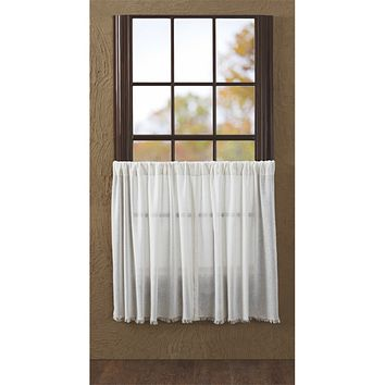 Tobacco Cloth Antique White Fringed Tier Curtains 36""