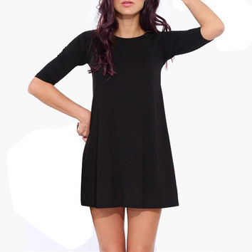 Black Sleeve Shift Dress