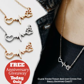 Beautiful Heartbeat Necklace Paw Print
