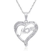 Sterling Silver Mom in Heart Diamond Accent Pendant-Necklace on an 18in Chain