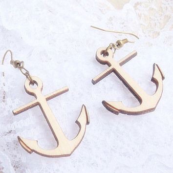 Anchor Earrings- Wood Anchor Dangle Earrings - Wood Earrings- Wood Jewelry - Nautical Earrings - Minimalist Jewelry - Nature - Eco Friendly