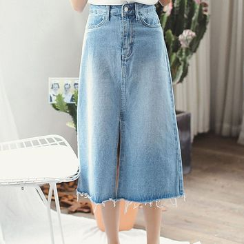 Streetstyle  Casual Blue Denim Bleached A-Line Maxi Skirt