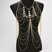Harness Tiered Pearl Body Chain Jewelry