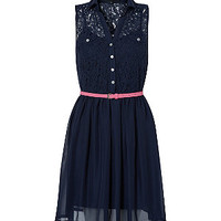 Navy Lace Top Belted Shirt Dress