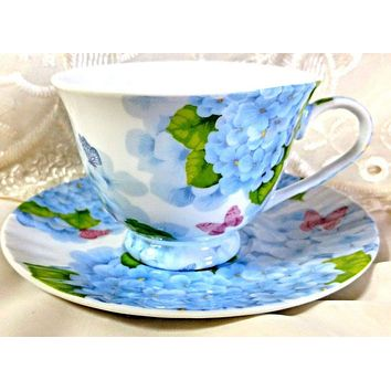 Blue Hydrangea and Butterflies Porcelain Teacups Set of 6 Tea Cups Cheap Price Elegant Look! $5.95 Flat Rate Shipping Add 1 More Set for FREE SHIPPING over $75