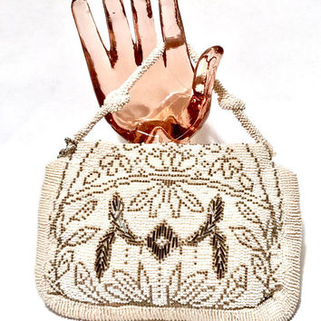 Art Deco Beaded Bag, 1920-1930s, Bridal Bag, Vintage Bag, Made In Czechoslovakia, Floral Design, White And Grey Beads, Wedding Purse