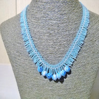 Fringe necklace in turquoise with blue glass beads, handmade jewelry, beads necklace, gift for her, blue necklace, blue fringe necklace