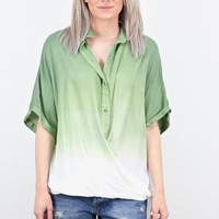 Ombre Dip-Dye Twisted Hem Button Down Shirt {Olive}