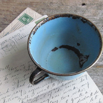 Antique Turquoise Enamelware Cup ~ 1930's Farmhouse Primitive Metal Rustic Coffee Tea Cider Cup  0241