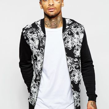 ASOS Jersey Bomber Jacket With Floral Print In Black