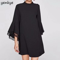 Vintage Women Party Elegant Mini Dress Lace Trims Flare Sleeve Stand Collar Straight Shift Black Dresses NNWM7106