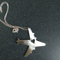 $12.00 I Heart Travel Airplane Necklace by ArtisanGerard